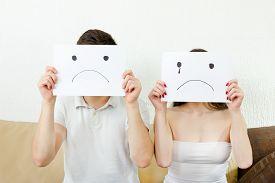stock photo of sad  - Sad teenagers in despair - JPG