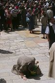 JERUSALEM - APRIL 21: Pilgrim prays on his knees, after a Crucession, in front of Temple, on Good Friday April 21, 2006 in Jerusalem, Israel.