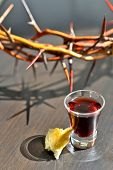stock photo of communion  - Wine and bread ready for taking Communion - JPG