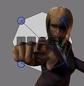 Woman activates a semitransparent screen