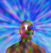 Hi-Res Key hole in mans head radiating light
