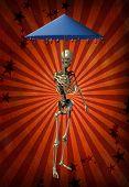 A demonic figure offers a dripping umbrella