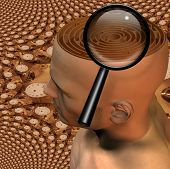 Magnify glass and maze in mans head