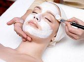 Постер, плакат: Женщина получает маска для лица в салоне красоты