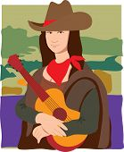 stock photo of mona lisa  - The Mona Lisa dressed as a cowgirl wearing a cowboy hat a bandana and holding a guitar - JPG