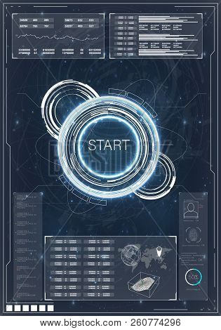 poster of Hud. Hud, Great Design For Any Purposes. Computer Game Competition. Smartphone Gaming. Futuristic Ve