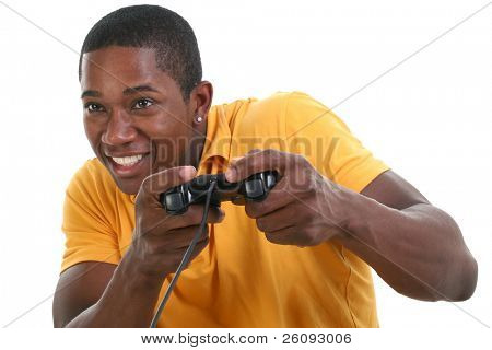 poster of Close up young black man with excited expression playing video game with controller over white.