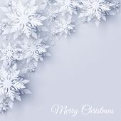 Vector Merry Christmas And Happy New Year Greeting Card Design With Realistic Looking Paper Cut Snow poster
