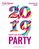2019 Happy New Year Paper Art Holiday Design For Seasonal Greeting Card. Vector Winter Holiday Party poster