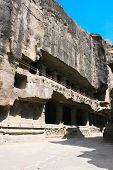 image of ellora  - Facade of ancient Ellora rock carved Buddhist temple - JPG
