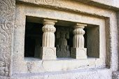 picture of ellora  - Entrance in ancient Ellora rock carved Buddhist temple - JPG