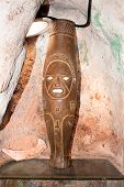 Ancient large sculpture of Taino Indian in cave,  Baracoa, Guantanamo province, Cuba