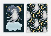 Cute Hand Drawn Sleepy Sloths In Space Among The Moon And The Stars. Vector Flat Cartoon Animals For poster
