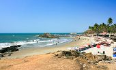 Panoramic view of beautiful tropical Vagator beach, Goa, India