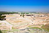 Panoramic view on ruins of ancient Persepolis in Iran