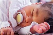 Close up portrait of a cute two weeks old newborn baby girl wearing soft pink knit clothes, sleeping poster