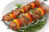 stock photo of kebab  - shish kebab on skewers - JPG