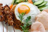 picture of nasi  - nasi goreng with prawn crackers and chicken satay  - JPG