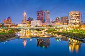 Columbus, Ohio, USA skyline on the river at dusk. poster