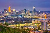 Cincinnati, Ohio, USA skyline over the Cuyahoga River at dusk. poster