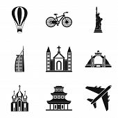 Movement Around The World Icons Set. Simple Set Of 9 Movement Around The World Icons For Web Isolate poster