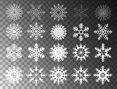 Winter Set Of White Snowflakes Isolated On Transparent Background. Snowflake Icons. Snowflakes Colle poster
