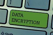 Writing Note Showing Data Encryption. Business Photo Showcasing Symmetric Key Algorithm For The Encr poster