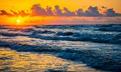 Sunrise Over The Ocean On Gulf Of Mexico Padre Island Sunrise On The Beach Golden Hour Nature Escape poster