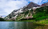 Infamous Maroon Bells , Summertime At Crater Lake Of The Maroon Bells - Snowmass Wilderness Near Asp poster