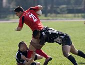 CLUJ-NAPOCA, ROMANIA - APRIL 4: Rugby players in action at a Romanian National National Cup rugby ma