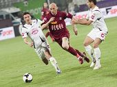 CLUJ-NAPOCA, ROMANIA - APRIL 24: Muresan in action at a Romanian National Championship soccer game C