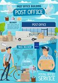 Post Office And Mail Delivery. Postage Service, Post Shipping Transport And Postman At Work In Post  poster