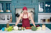 Natural Food Taste Better. Man Ready For Cooking Food. Man Chef Got Natural Vegetables For Healthy C poster