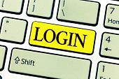 Handwriting Text Writing Login. Concept Meaning Entering Website Blog Using Username And Password Re poster