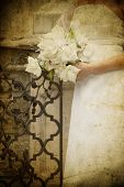 foto of wedding couple  - Vintage photo of bride holding wedding bouquet - JPG
