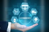 Businessman Holding Icon Of E-commerce Concept ,creative Design For Banner. poster