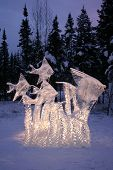 An Ice Sculpture of Fish in Fairbanks, Alaska