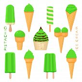 Vector Illustration For Natural Pistachio Ice Cream On Stick, In Paper Bowls, Wafer Cones. Ice Cream poster