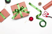 Gift Boxes, Christmas Balls, Toys, Fir Cones, Ribbon On White Background. Festive, Congratulation, N poster