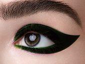 Elegance Close-up Of Beautiful Female Eye With Fashion Eye Shadow And Eyeliner. Macro Shot Of Woman poster