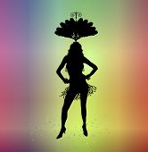 pic of carnivale  - silhouette of woman in carnival costume on colorful background - JPG