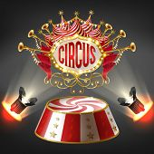 Vector 3d Realistic Circus Stage In Bright Rays Of Spotlights. Label With Bulbs Frame, Sign With Hor poster