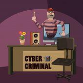 Cyber Attack Criminal Spy Concept. Cartoon Illustration Of Cyber Attack Criminal Spy Concept For Web poster