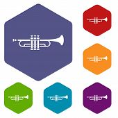 Brass Trumpet Icons Set Rhombus In Different Colors Isolated On White Background poster