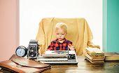 Little Writer Work On Book At Desk. Boy Writer Type On Vintage Typewriter In Office. poster