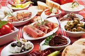 Antipasto, tapas, various appetizer food traditional in mediterranean countries