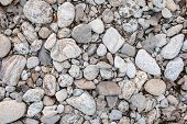 Pebbles Stone Texture And Background. Abstract Background Made With Small Gray Stones. Mountain Floo poster
