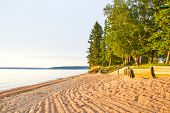 Lines In The Sandy Beach Of Waskesiu Lake In Prince Albert National Park Of Canada. poster