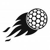 Burning Golf Ball Icon. Simple Illustration Of Burning Golf Ball Icon For Web poster