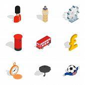 British Culture Icons Set. Isometric 3d Illustration Of 9 British Culture Icons For Web poster